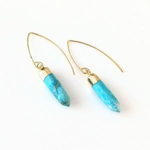 Gold-plated turquoise howlite drop earrings